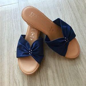 Italian shoemaker blue bow wedges
